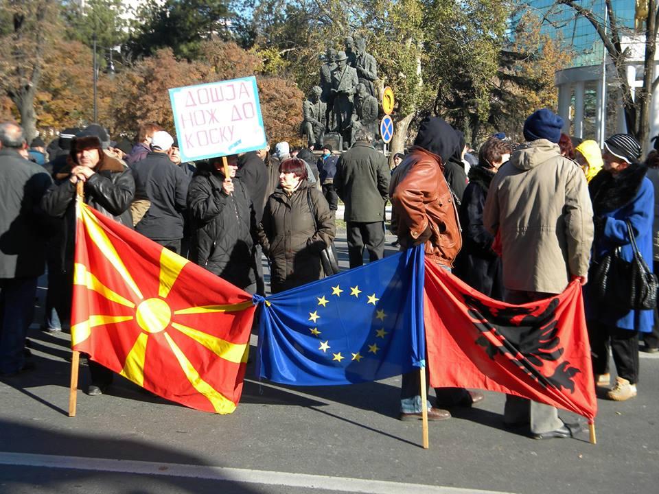 Protesta e punëtorëve të falimentuar (FOTO: Stefan Urxhanovski)